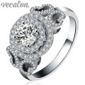 Vecalon Brand Design Fashion Women Jewelry ring Simulated diamond Cz 925 Sterling Silver Engagement wedding Band ring for women