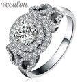 Vecalon Marca Mulheres Design de Moda Jóias anel de diamante Simulado Cz 925 Sterling Silver Engagement wedding Band anel para mulheres