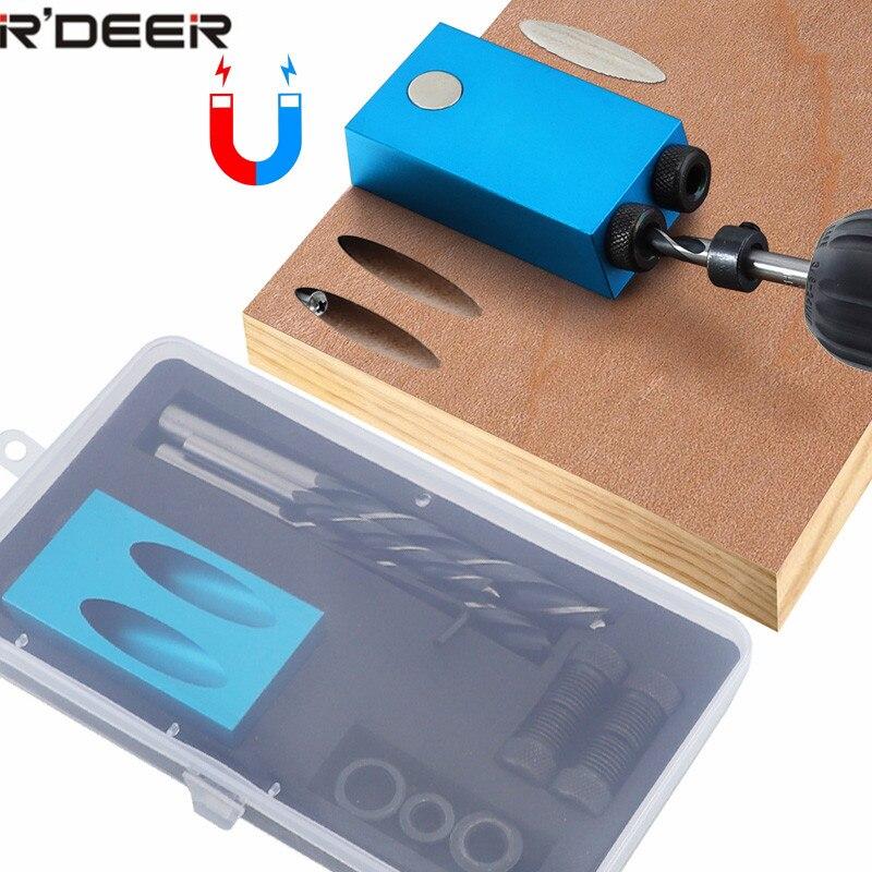 Tasche Loch Jig Austauschbare 6 8 10mm Bohrer Anleitung Magnetic Zurück Dübel Jig Kit Holz Bohrer für Holz Verbindungs