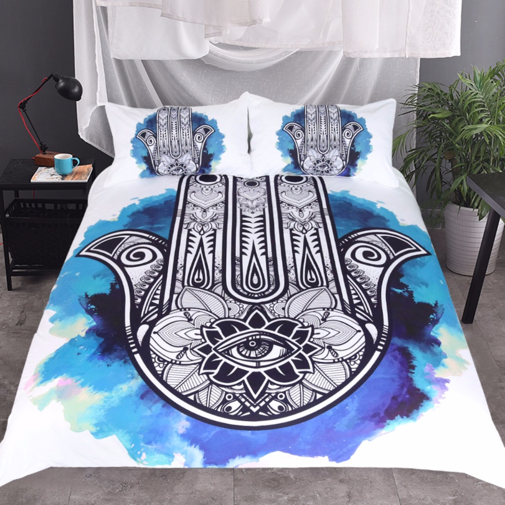 CAMMITEVER Hand Bedding Set Indian Duvet Cover 3D Printed Bed Set 3pcs Animal Black and White Hand Bedclothes For Adults