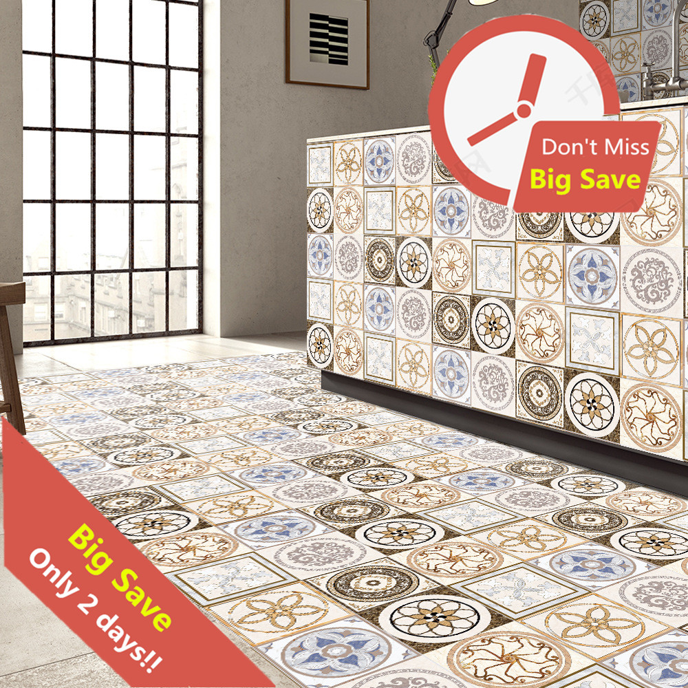 5m/pcs 3D Ceramic Tile Like Floor Wall Stickers Self Adhesive PVC Decals Removable Home Decor Wall Paper On Glass Tile Furniture