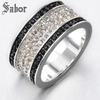 Top Quality Black Crystal Five Multi Cubic Zirconia Wide Ring Jewelry Free Shipping 925 Sterling Silver drop shipping