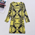 Brand 2017 Summer Boutique Women's Dress Print Long Sleeve Large Size Dress 20 Color Round Collar Retro Bohemian Dress Vestidos