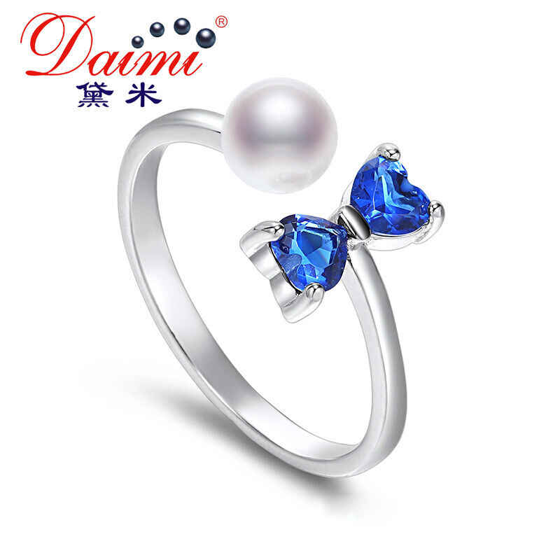 DMCRFP003 5-6MM Pearl Ring Bow-knot Pearl Ring For W