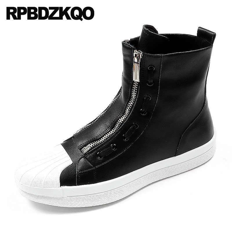 Black Zipper Round Toe Ankle White