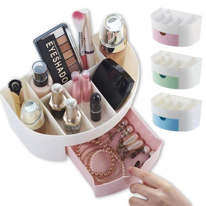 New Candy Plastic Cosmetics Jewelry desktop organizer Office container Makeup Brushes tool Storage Box casket Holder shelf case3