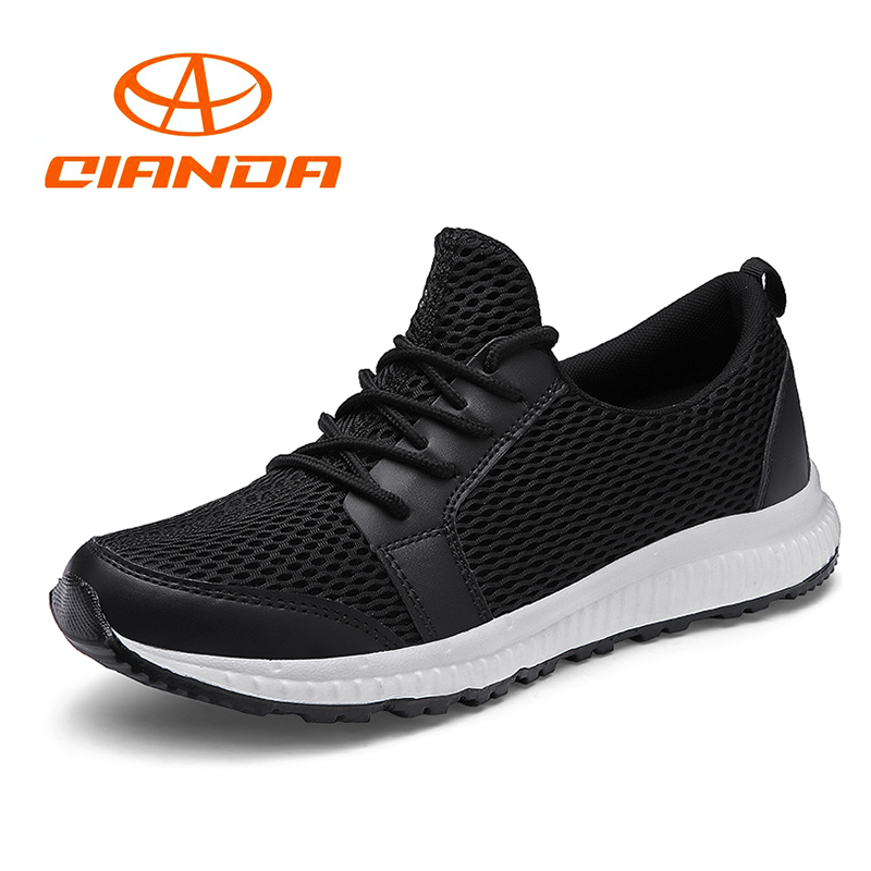 QIANDA Men Running Shoes Light Comfortable Mesh Man Sneakers Wear-resistant Soft Rubber Sole Breathable Jogging Sport Shoes