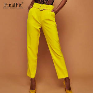 FinalFit High Waist Autumn Leg Suit Pants Women Trousers