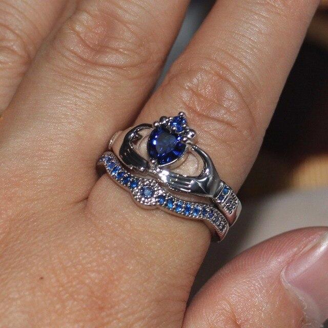 Blue Birthstone claddagh ring 4
