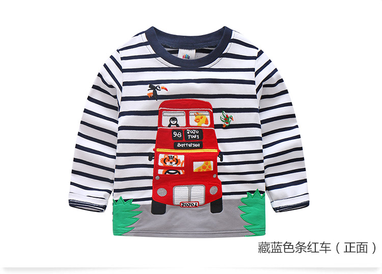2018 Spring Autumn For 2-9 10 Years Children Cotton Striped Patchwork Cartoon Car Bus Truck Baby Kids Boys Long Sleeve T Shirts (48)