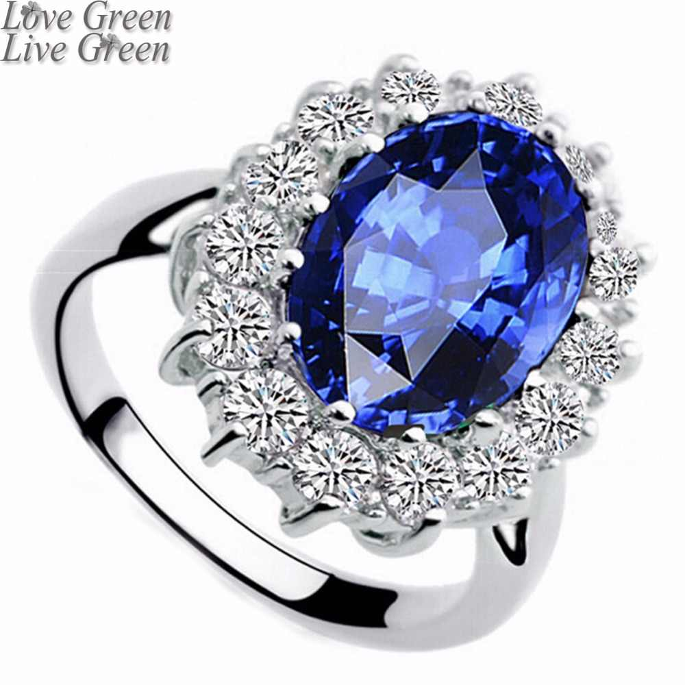 2019 Valentines gifts zircon Wholesale fashion brand Royal Blue William Kate Queen wedding Austrian Crystal Ring jewelry 8585
