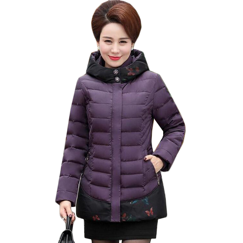 Plus Size 5XL Women Basic Coats New Middle-aged Winter Jacket Thick Cotton-padded Short Jacket Hooded Women Parkas Outerwear 694