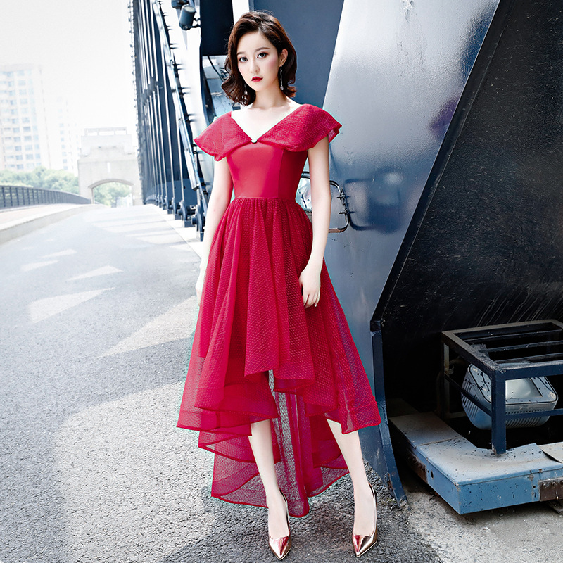 Formal Prom Dress V neck Short Sleeves Plus Size Red Party Gowns Elegant Lace Up Illuesion High Low Length Cocktail Dresses E384 in Cocktail Dresses from Weddings Events