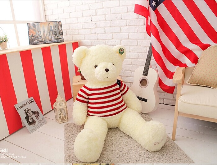 big lovely plush stripe sweater teddy bear toy US flag sweater white bear doll gift doll about 100cm 0134 huge lovely panda toy big plush panda with stripe clothes birthday gift about 90cm