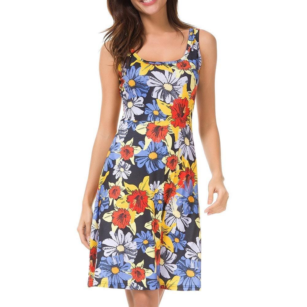 Women's Holiday Beach Dress Boho Colorful Flower Print Knee-Length Sundress Summer Sleeveless Vest Dresses
