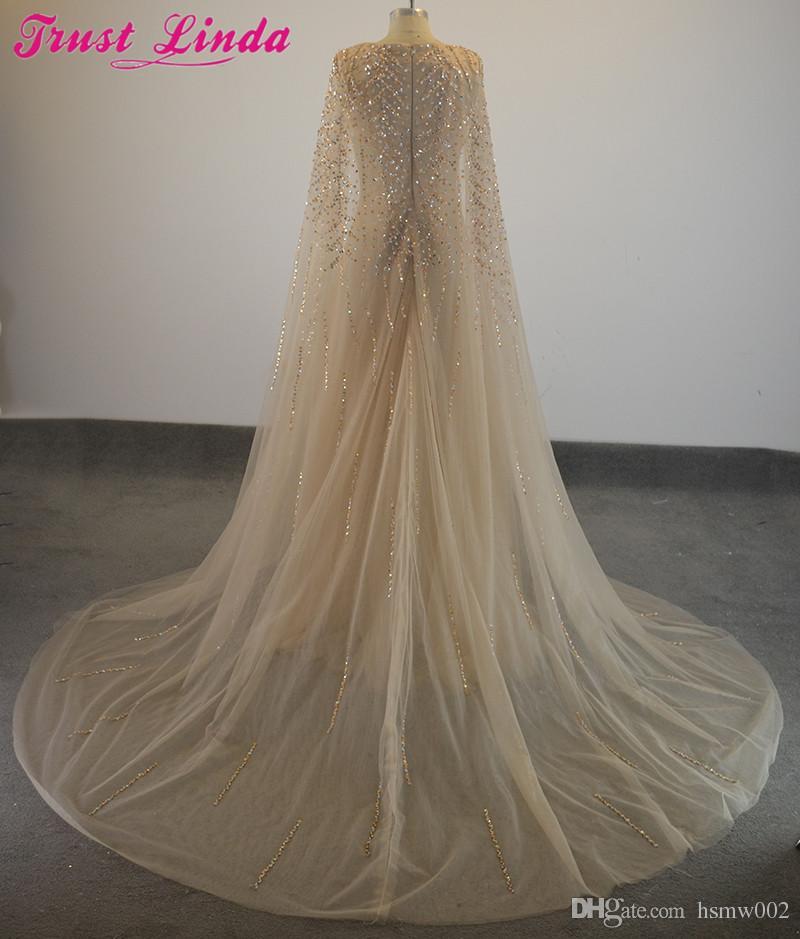Robes de soirée formelles élégantes perles de cristal tige de selle Cape robe de soirée tenue de soirée - 4