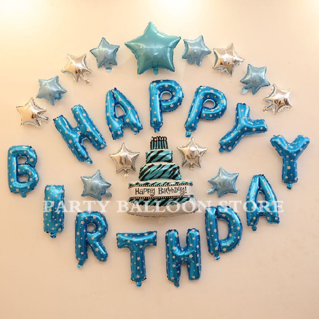 Foil Balloons Blue Happy Birthday Letter Sky Blue Silver Stars Cake