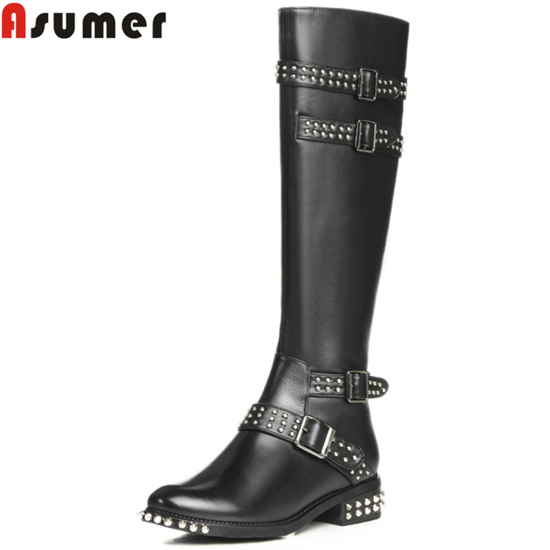 ASUMER 2018 HOT punk genuine leather boots round toe zip buckle rivets motorcycle boots women classic winter knee high bootsASUMER 2018 HOT punk genuine leather boots round toe zip buckle rivets motorcycle boots women classic winter knee high boots