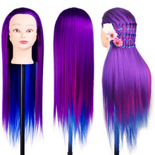 "SHERUI 24"" Synthetic Rainbow Purple Blue Hair Mannequin Head Hairdressing Doll Manikin Heads For Braiding Hair Styling+ Clamp(China)"