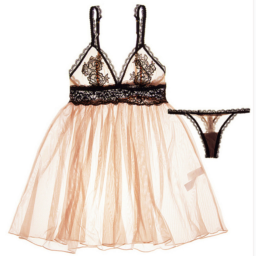 New Arrivals Sexy Womens Intimates Perspectivity Embroidery Lace Bra Dress Set Chemise Lingerie Nightdress Sleepwear Dress H255