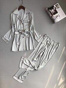 Image 5 - 여자 실크 새틴 잠옷 잠옷 세트 긴 소매 잠옷 Pijama Feminino 잠옷 정장 여성 수면 두 조각 세트 Loungewear