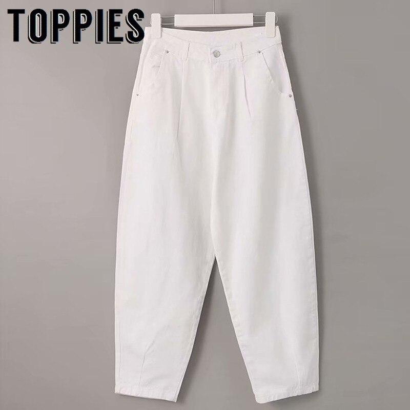 джинсы женские Женские джинсовые шаровары с высокой талией, белые свободные брюки бойфренда, 2019