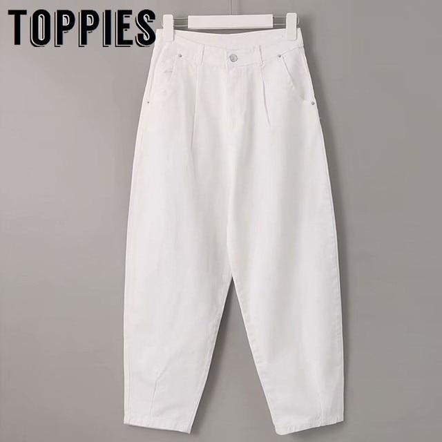 2019 לבן ג 'ינס גבוה מותניים ג' ינס הרמון מכנסיים ג 'ינס החבר רופף אישה מכנסיים vaqueros mujer