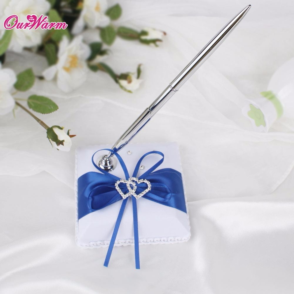 Romantic Weddings Decoration Pen Stand Holder with Double Heart ...