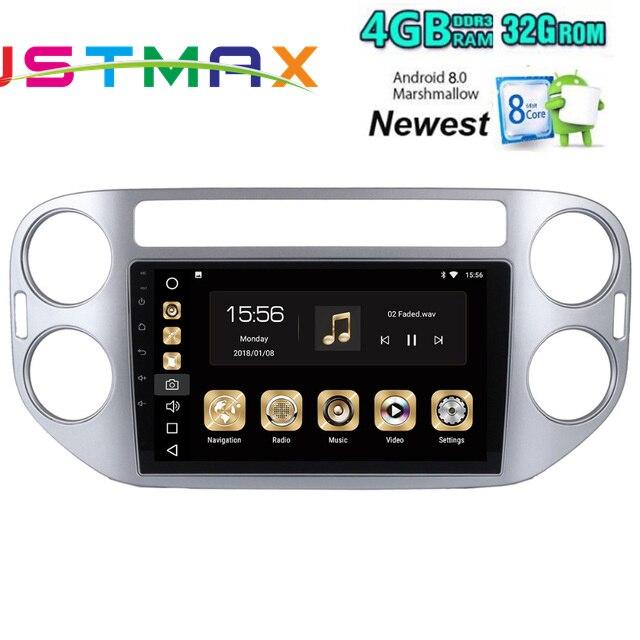Voiture 2 Din Android 8.0 GPS pour Volkswagen Tiguan 2008-2015 autoradio navigation unité de tête multimédia 4 Gb + 32 Gb PX5 8-Core