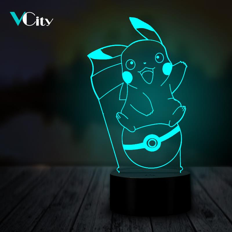 VCity Pikachu 3D Night Light Illusion Bedside Decor Gifts for Pokemon Lover Novelty Mood Lamp Lighting Birthday Party LEDVCity Pikachu 3D Night Light Illusion Bedside Decor Gifts for Pokemon Lover Novelty Mood Lamp Lighting Birthday Party LED