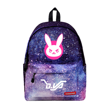 WISHOT D.VA Rabbit Cosplay Backpack School Travel Bag for girls women Stars Universe Space Galaxy printing