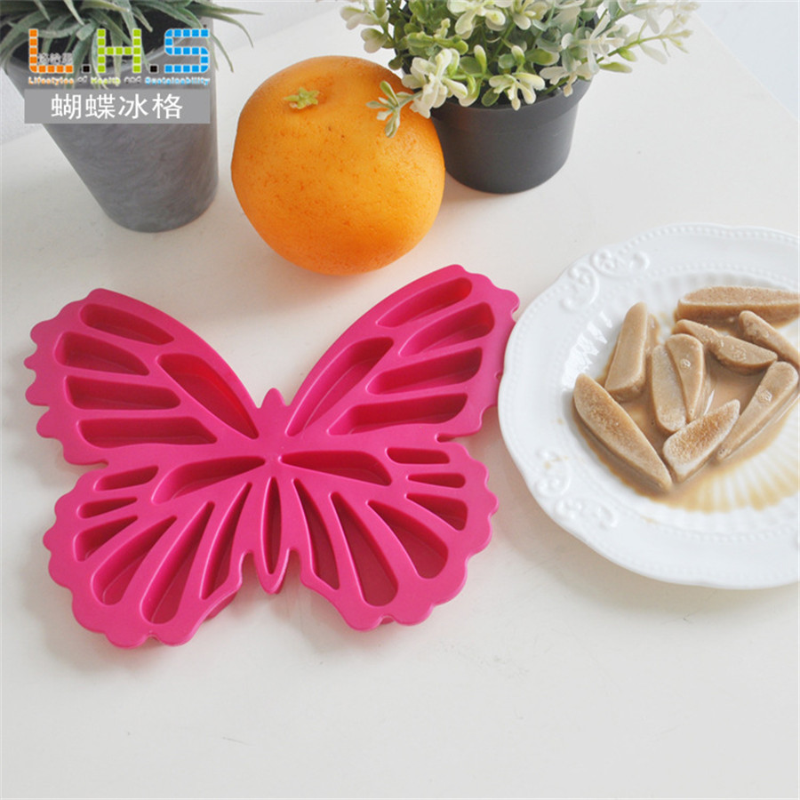 2pcs/lot Ice Cube Tray Mold Makes Butterfly Silicone Ice Mould Novelty Gifts Ice Tray Summer Drinking Tool