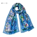 "Brand Luxurious 100% Satin Silk Scarf Shawl Wraps Oil Painting Pattern Prints Claude Monet's ""Water Lilies"" Flower"