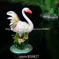 Flamingo Bird Crystals Miniature Figurine, Trinket, Keepsake, Jewelry Box Fine Pewter Bejeweled Bird Trinket Small Box