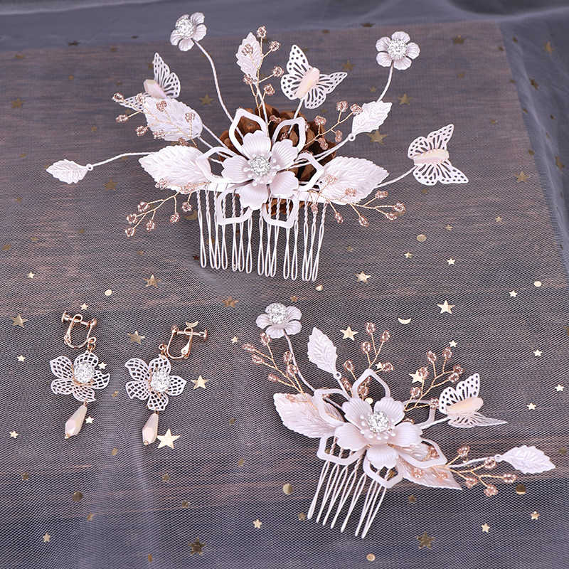 Fashion Flower Hair Combs Earrings Sets 3 Pcs Silver Handmade Hair Jewelry For Bride Girls Butterfly Wedding Hair Accessories