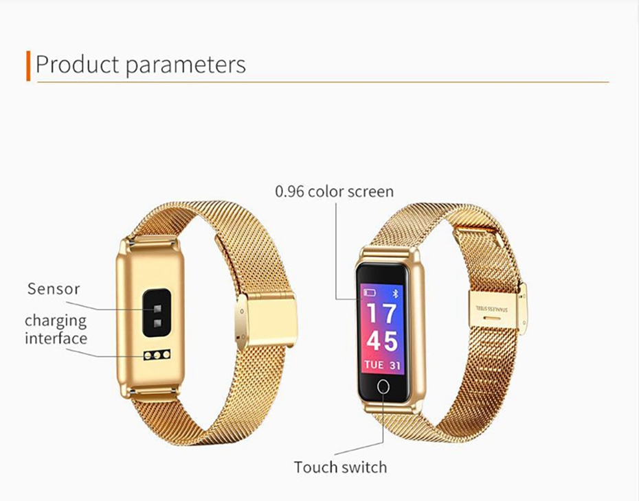 Y8 Smart Watch Stainless Steel Women Sports Touch Screen Health Bracelet Ons Men Fitness Bracelet for Measuring Pressure Fitness 2018 2019 (19)