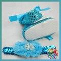 Zapatos Del Bebé recién nacido Diadema Set, Bebés y niños pequeños de Tela Zapatos Botines Del Bebé para el Bebé Recién Nacido de Invierno, Niño zapatillas