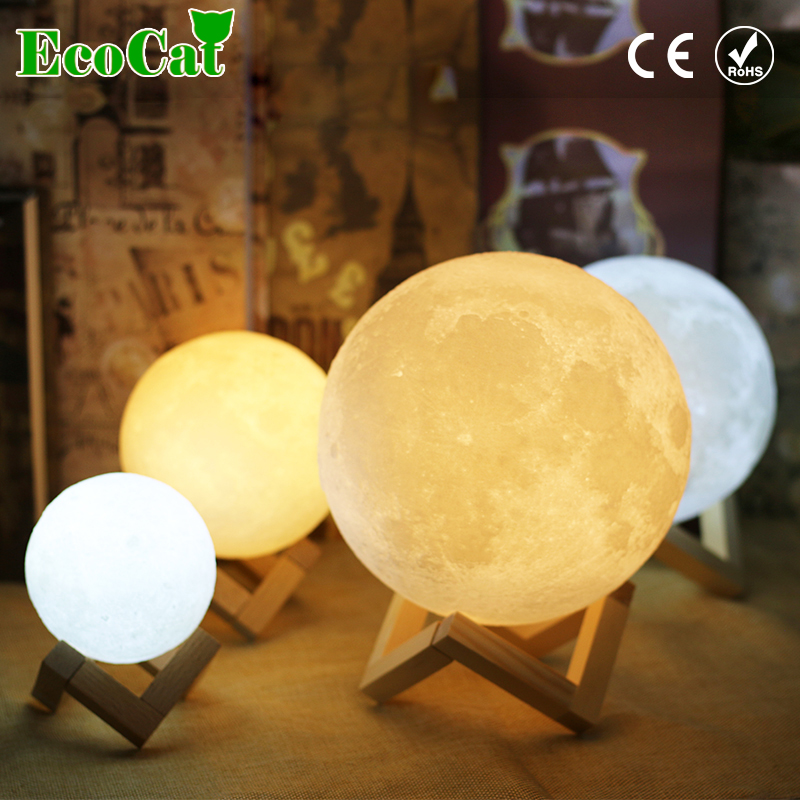 Rechargeable Moon Lamp Night Light 3D Print 15CM 18CM Touch Switch 2 Color Change Bedroom Bookcase Creative Gift Home Decor