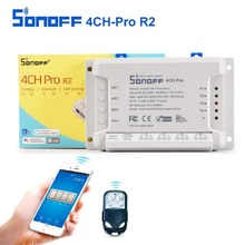 Sonoff 4CH Pro R2 Suis Smart 4 Saluran 433MHz 2.4G Wifi Kawalan Jauh Modul automasi pintar 90-250V AC (50 / 60Hz) / 5-24V DC