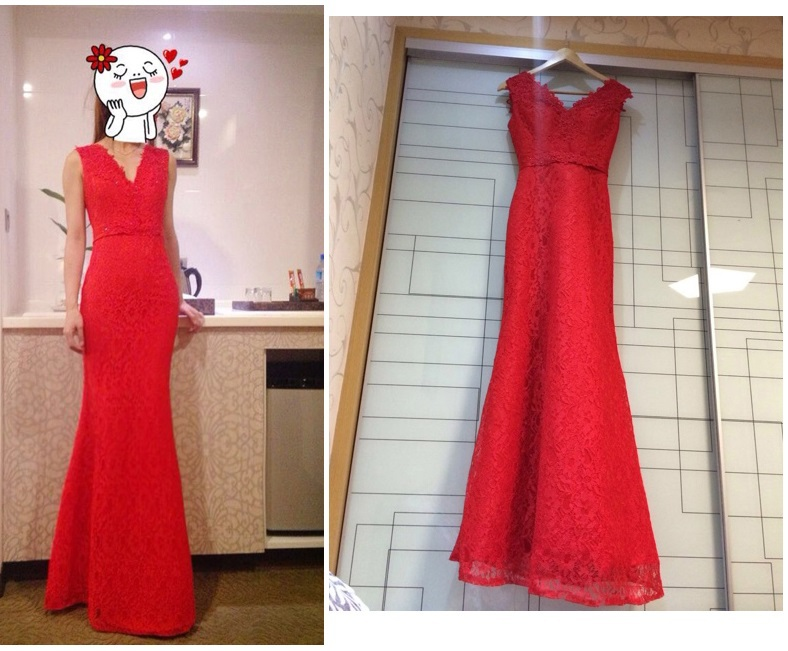Mermaid V Neck Lace Sexy Red Wedding Cheongsam Traditional Chinese