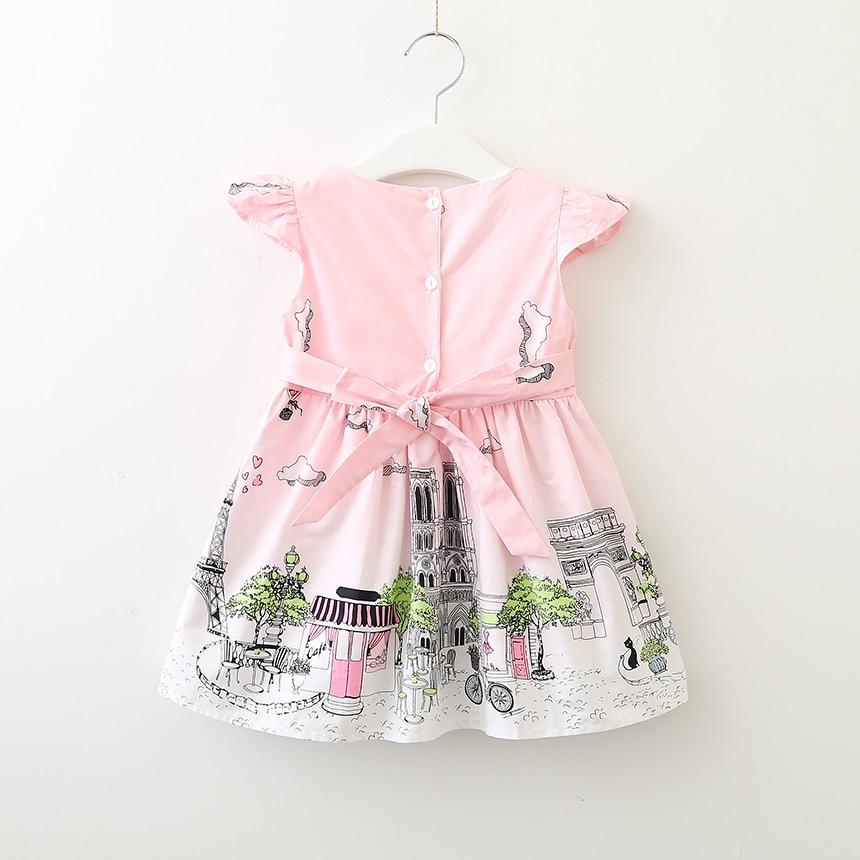 70a03bc1f2211 US $59.9 |Girls Summer Princess Dress Kids Print Dresses Cotton Children's  Clothing Girls Wholesale Boutique Dresses Eiffel Paris Graffiti-in Dresses  ...