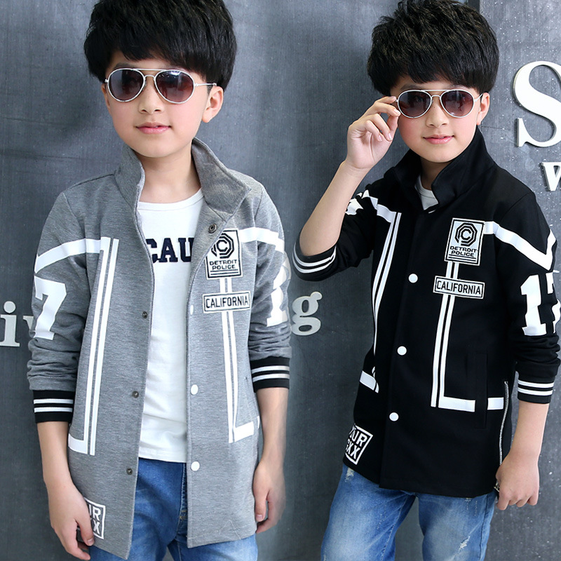ФОТО Kids boys spring / autumn jacket 2017 new baby boys fashion clothing big virgin casual black / gray coat 4/5/6/7/8/9/10/11/12/13