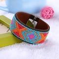 2016 Hot Fashion Women Bohemian Beads Brazilian Magnetic Bracelet Handmade Braided Leather Bracelets Bangles Boho Couple Jewelry