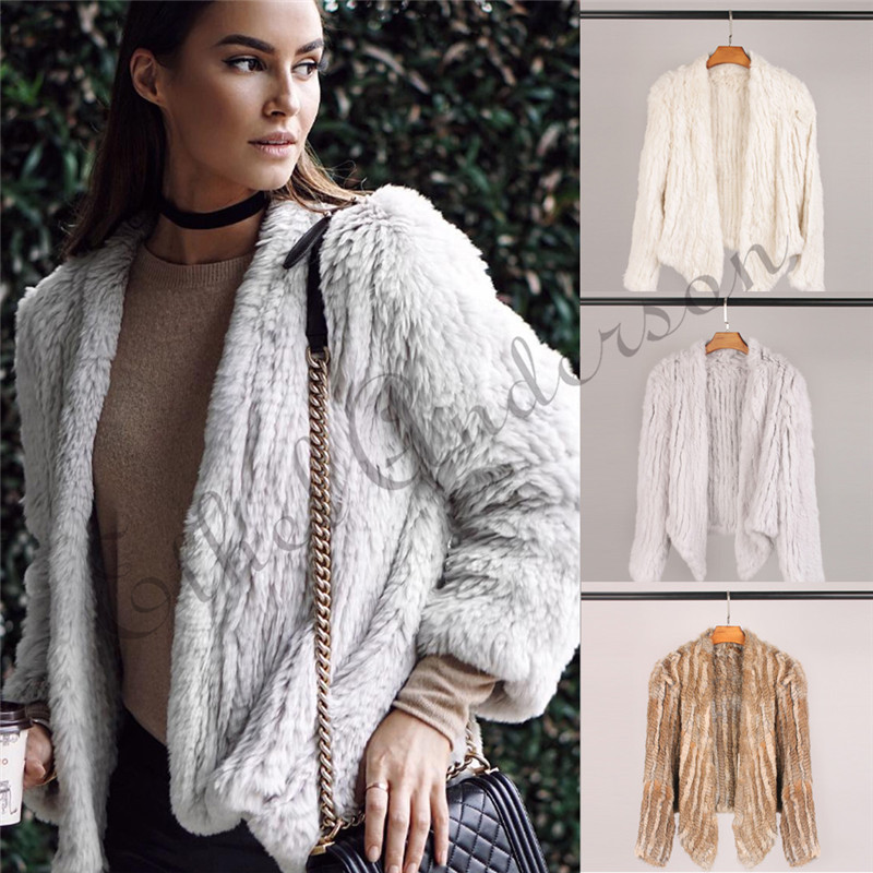100% Real Knit Rabbit Fur Cardigan Coat Jacket Natural Hand made Irregular Collar Garment Rabbit Fur Knitted Outerwear Vest