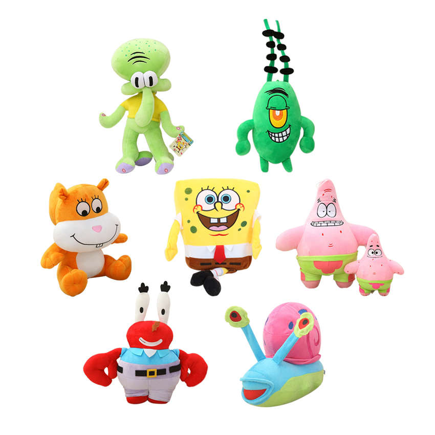 7pcs/lot SpongeBob High-Quality Plush Toys Stuffed Dolls Sponge Bob/Patrick/Crab/Plankton/Octopus/Snail Kids Toys Gift
