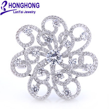 HONGHONG Cubic zirconia Flower Brooches Pins For Women High Quality font b Wedding b font Dress