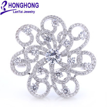 HONGHONG Cubic zirconia Flower Brooches Pins For Women High Quality Wedding Dress Jewelry Accessories Free Shipping