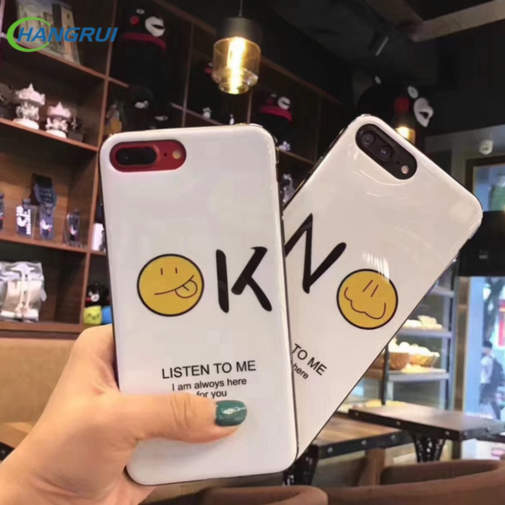 Hangrui for iphone 7case <font><b>Emoji</b></font> Simple letter Silicone Cover tpu <font><b>Cases</b></font> knockproof <font><b>Phone</b></font> <font><b>Cases</b></font> for iPhone 7 8Plus 6 6s plus capa