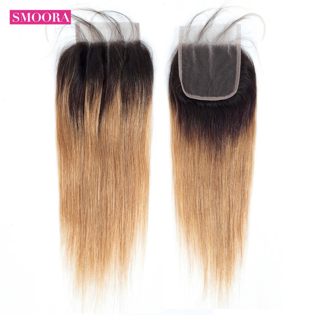 Ombre Brazilian Straight Lace Closure Free Middle Three Part 4x4 Honey Blonde 1b/27 Human Hair With baby Hair Non Remy  Smoora
