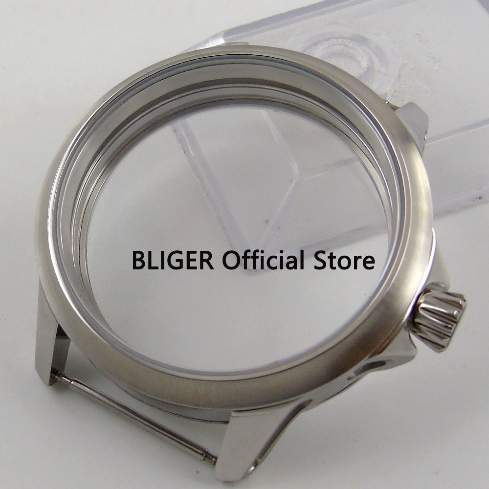 Classic BLIGER 45MM Stainless Steel Mineral Glass Watch Case Fit for ETA 6497 6498 Hand-Winding Movement Men's Watch Case C108 46mm matte silver gray stainless steel watch case fit 6498 6497 movement watch part case with mineral crystal glass